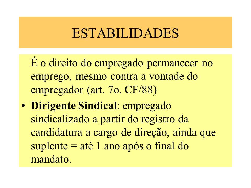 ESTABILIDADES É o direito do empregado permanecer no emprego, mesmo contra a vontade do empregador (art. 7o. CF/88)