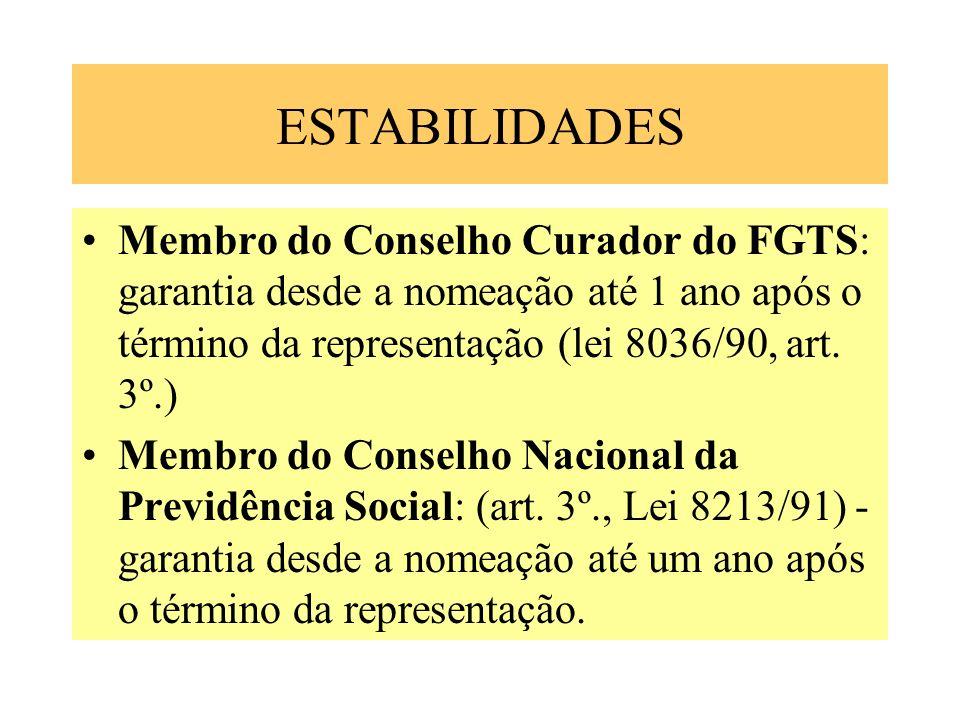ESTABILIDADES Membro do Conselho Curador do FGTS: garantia desde a nomeação até 1 ano após o término da representação (lei 8036/90, art. 3º.)