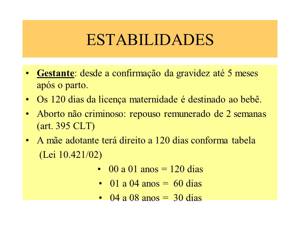 ESTABILIDADESGestante: desde a confirmação da gravidez até 5 meses após o parto. Os 120 dias da licença maternidade é destinado ao bebê.