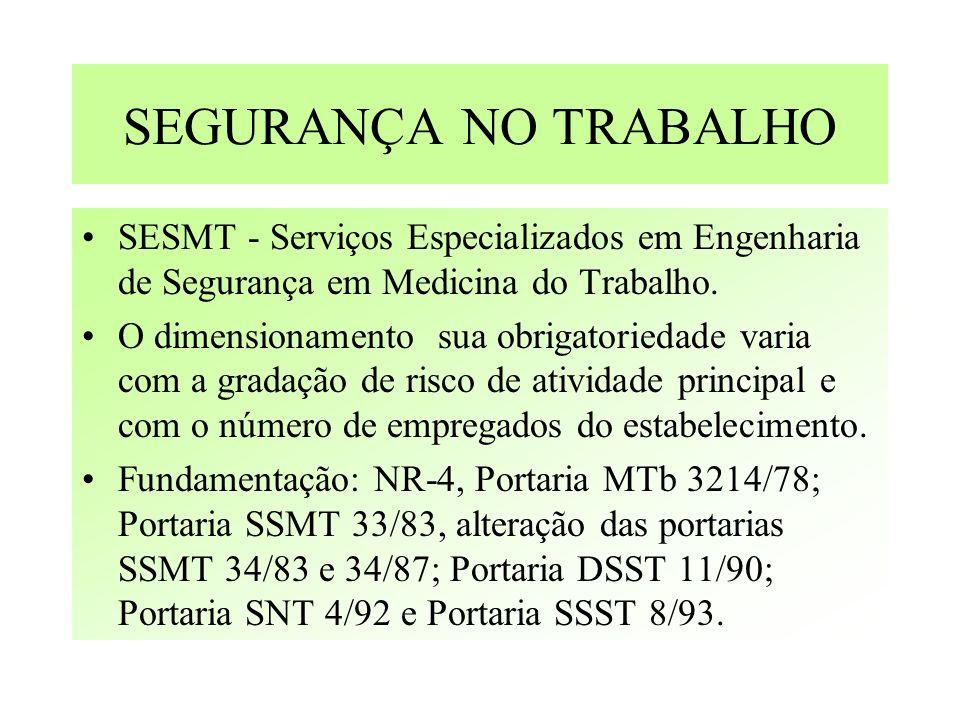 SEGURANÇA NO TRABALHO SESMT - Serviços Especializados em Engenharia de Segurança em Medicina do Trabalho.