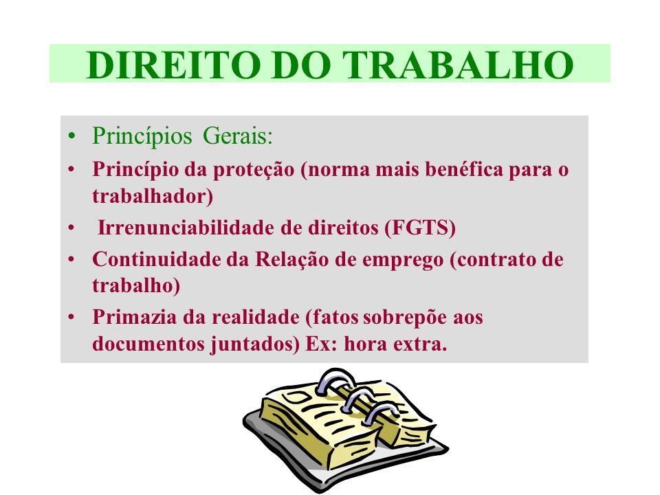 DIREITO DO TRABALHO Princípios Gerais: