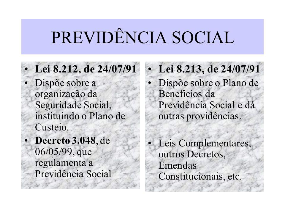 PREVIDÊNCIA SOCIAL Lei 8.212, de 24/07/91 Lei 8.213, de 24/07/91