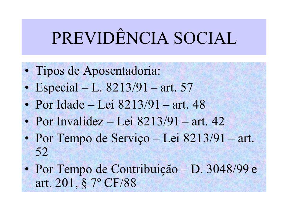 PREVIDÊNCIA SOCIAL Tipos de Aposentadoria: