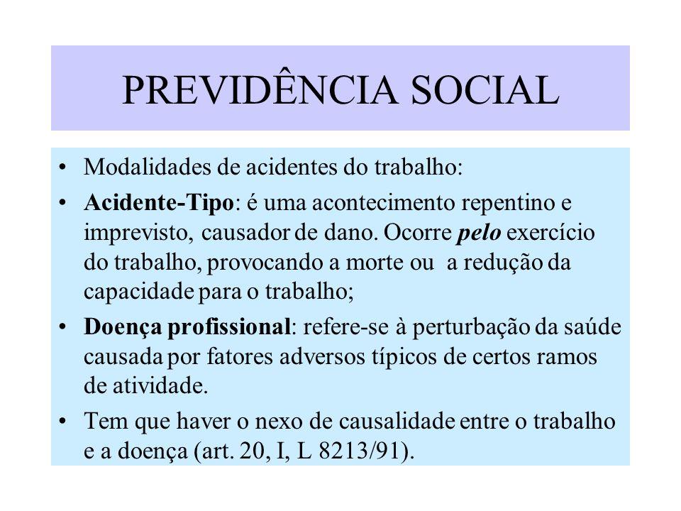 PREVIDÊNCIA SOCIAL Modalidades de acidentes do trabalho: