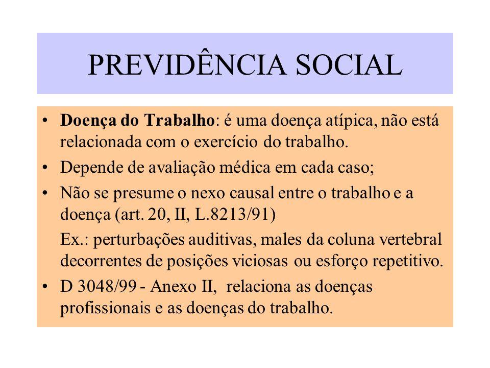 PREVIDÊNCIA SOCIAL Doença do Trabalho: é uma doença atípica, não está relacionada com o exercício do trabalho.