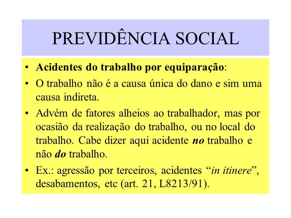 PREVIDÊNCIA SOCIAL Acidentes do trabalho por equiparação:
