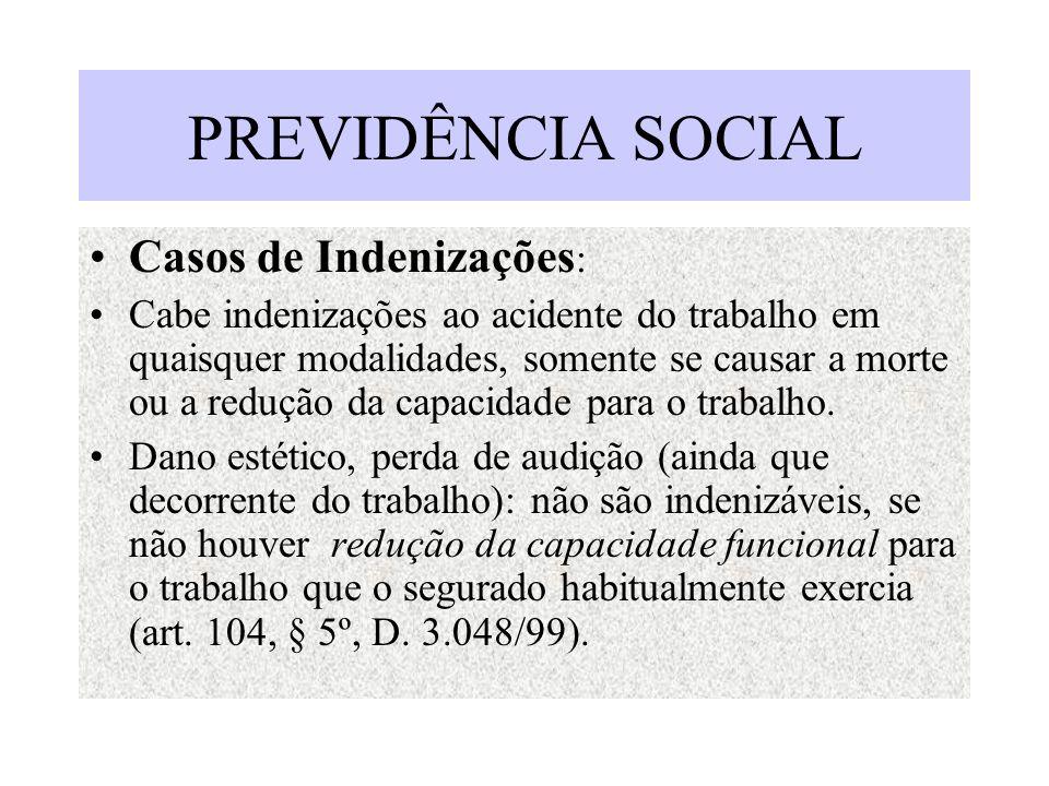 PREVIDÊNCIA SOCIAL Casos de Indenizações: