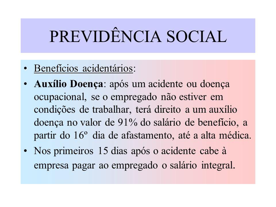 PREVIDÊNCIA SOCIAL Benefícios acidentários: