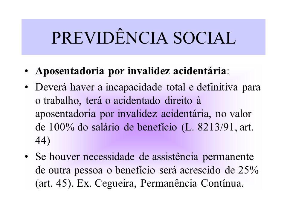 PREVIDÊNCIA SOCIAL Aposentadoria por invalidez acidentária: