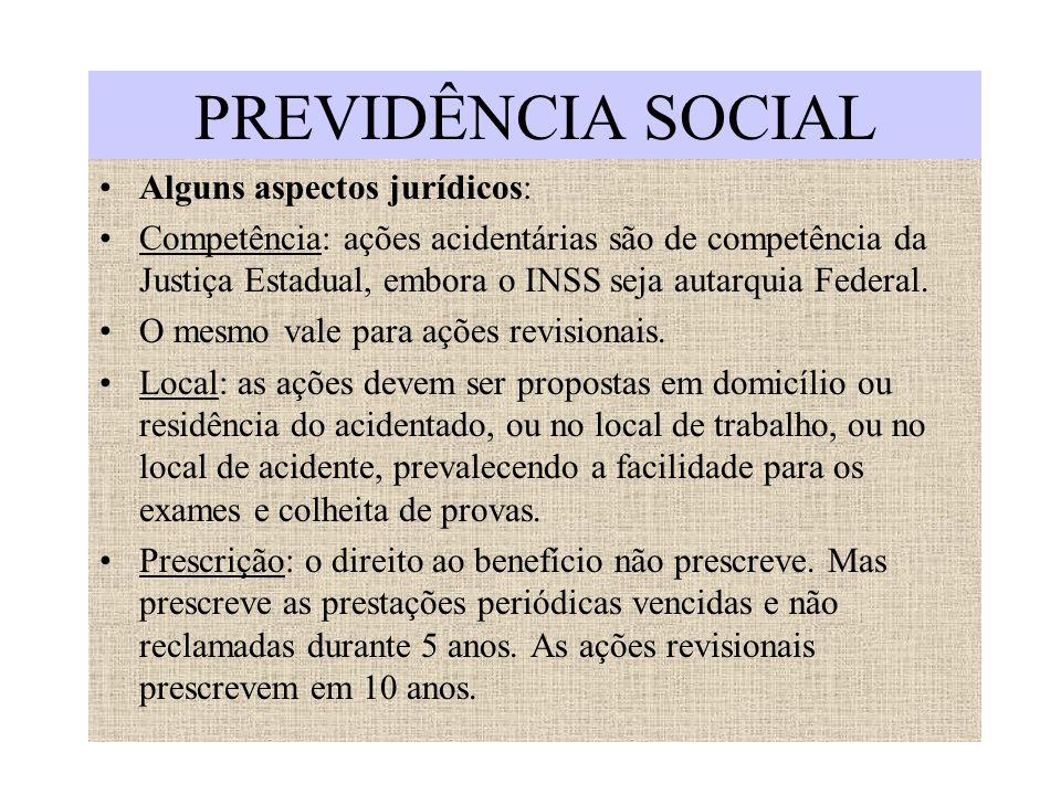 PREVIDÊNCIA SOCIAL Alguns aspectos jurídicos: