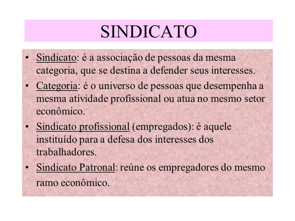 SINDICATO Sindicato: é a associação de pessoas da mesma categoria, que se destina a defender seus interesses.