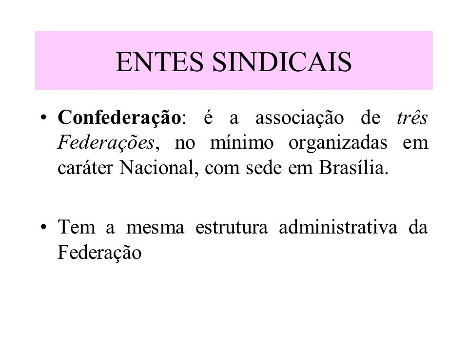 ENTES SINDICAISConfederação: é a associação de três Federações, no mínimo organizadas em caráter Nacional, com sede em Brasília.