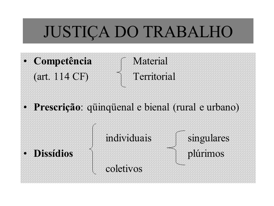 JUSTIÇA DO TRABALHO Competência Material (art. 114 CF) Territorial