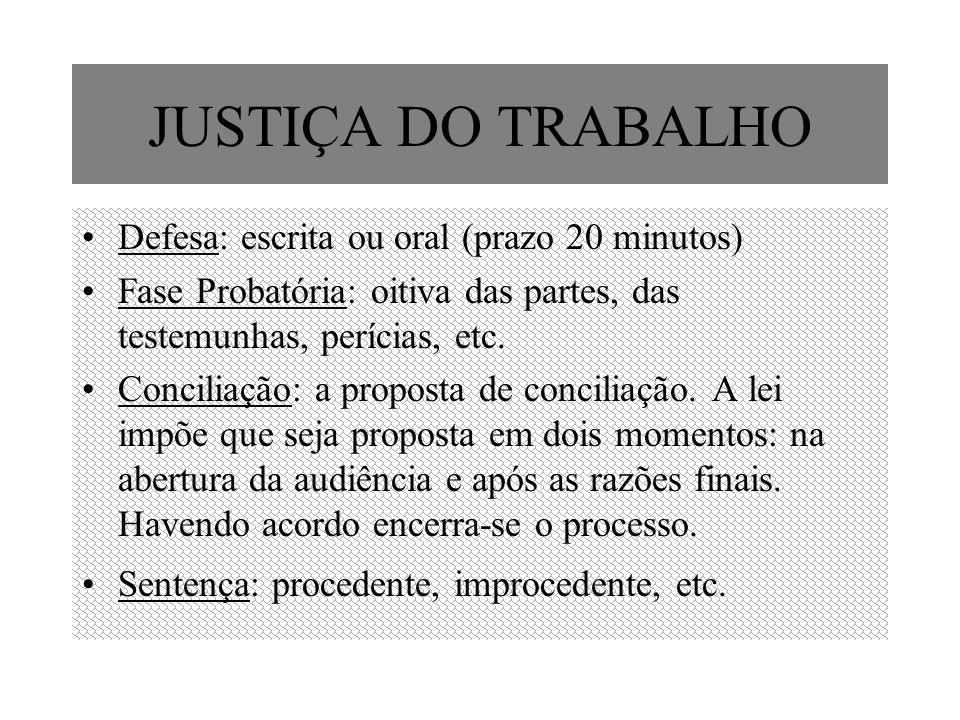 JUSTIÇA DO TRABALHO Defesa: escrita ou oral (prazo 20 minutos)