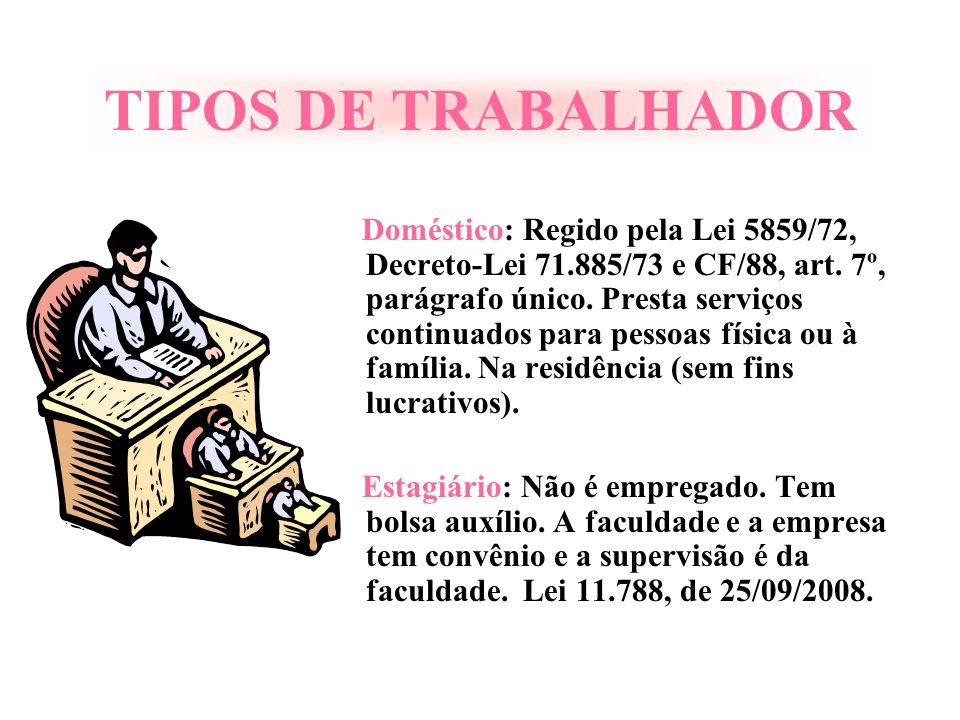 TIPOS DE TRABALHADOR