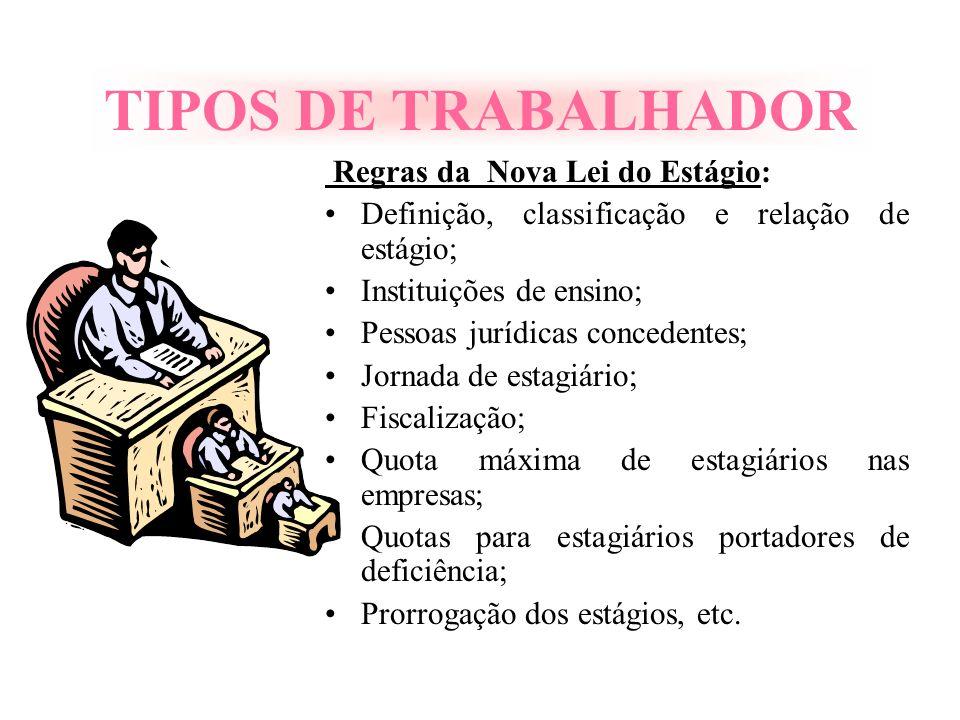 TIPOS DE TRABALHADOR Regras da Nova Lei do Estágio: