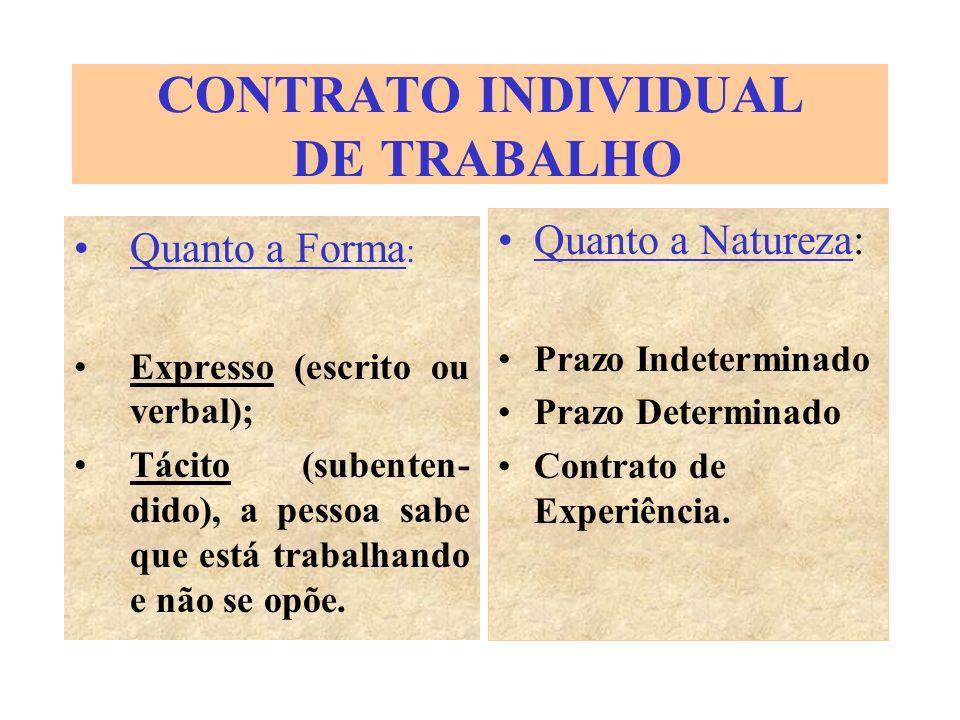 CONTRATO INDIVIDUAL DE TRABALHO