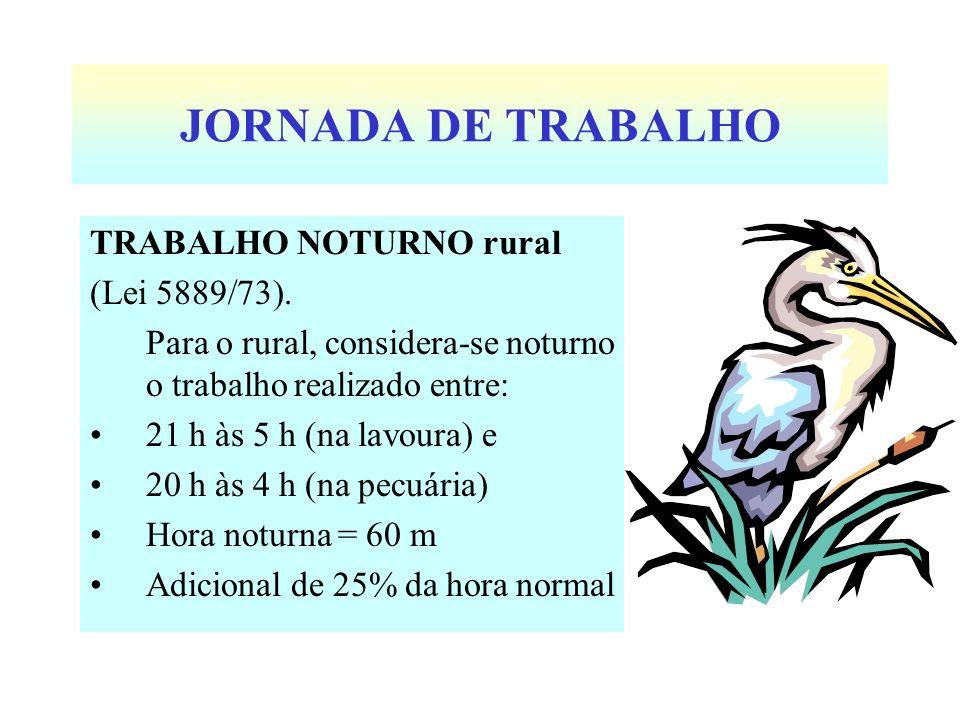 JORNADA DE TRABALHO TRABALHO NOTURNO rural (Lei 5889/73).