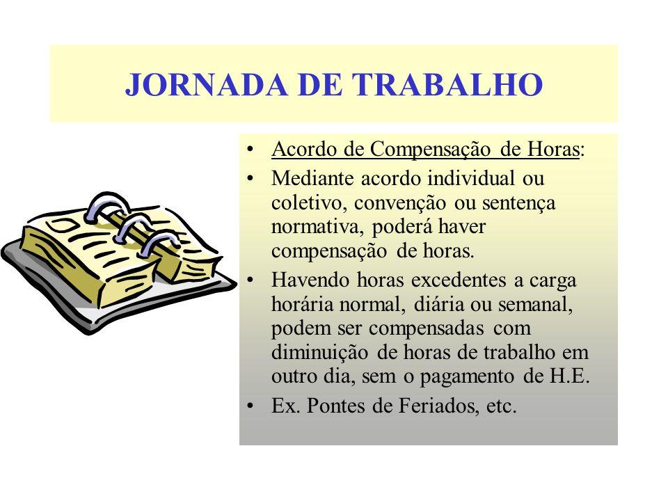 JORNADA DE TRABALHO Acordo de Compensação de Horas: