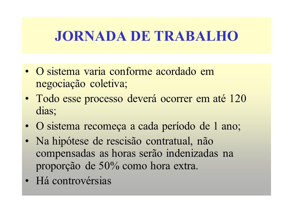 JORNADA DE TRABALHO O sistema varia conforme acordado em negociação coletiva; Todo esse processo deverá ocorrer em até 120 dias;