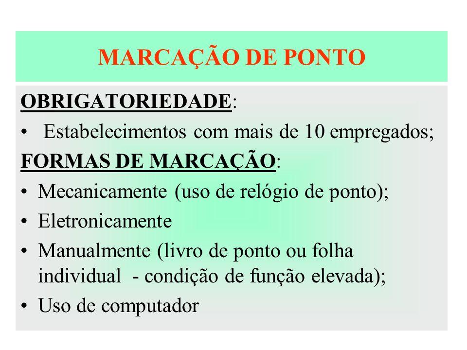 MARCAÇÃO DE PONTO OBRIGATORIEDADE: