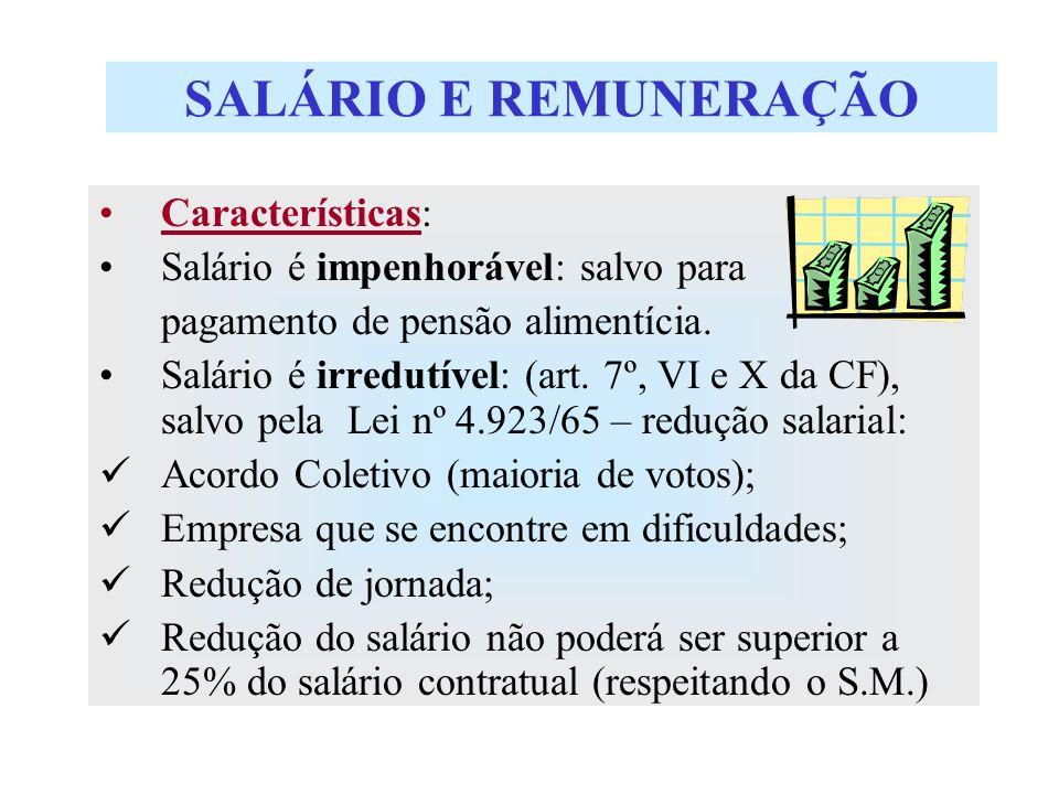 SALÁRIO E REMUNERAÇÃO Características: