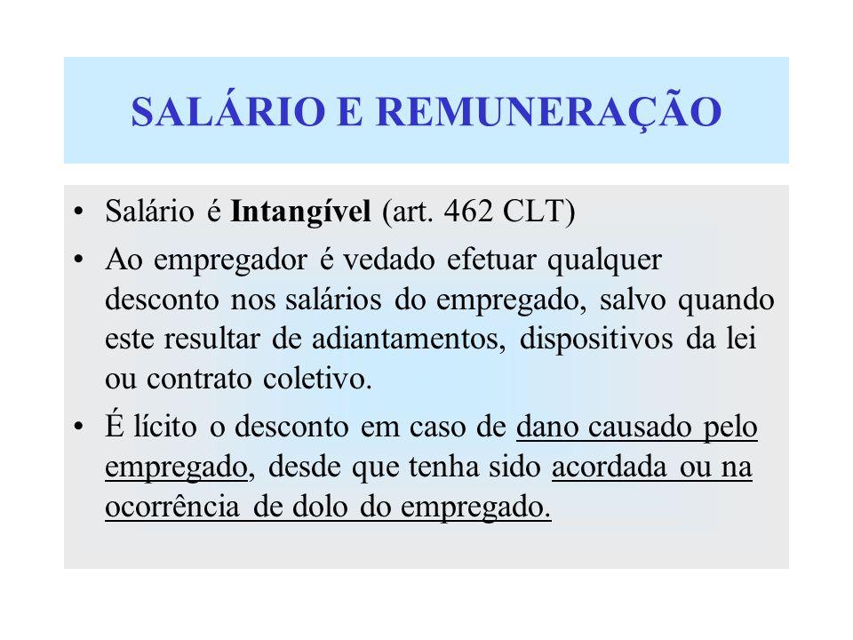 SALÁRIO E REMUNERAÇÃO Salário é Intangível (art. 462 CLT)