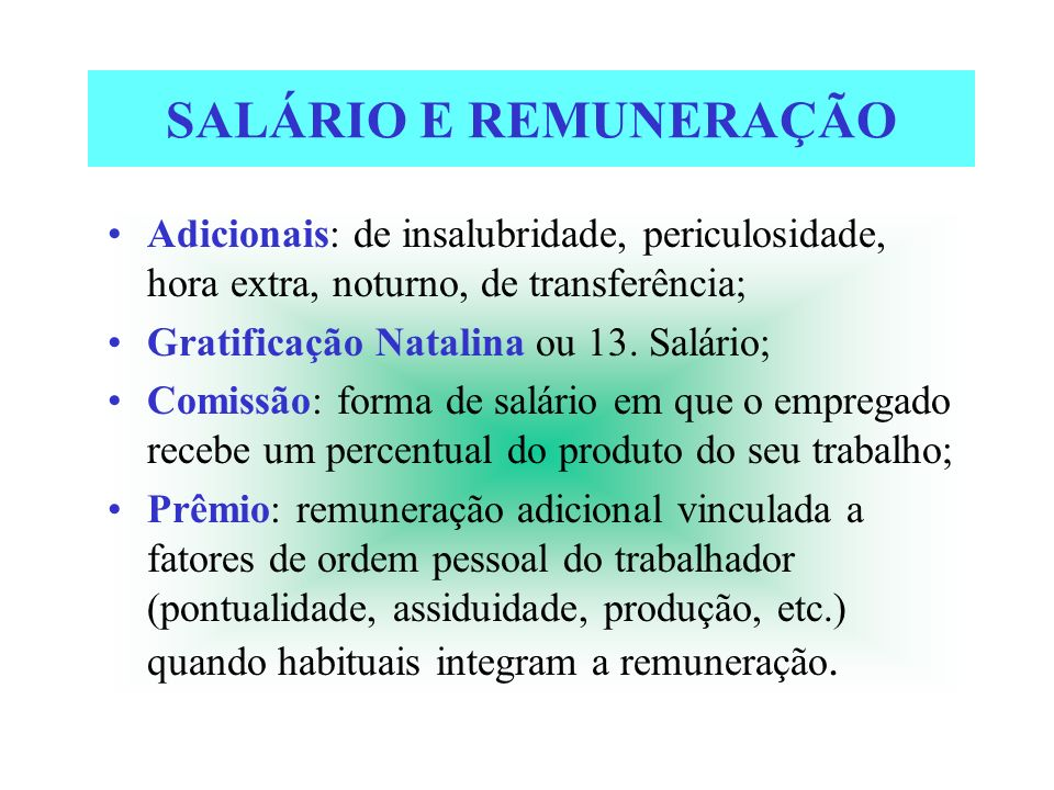 SALÁRIO E REMUNERAÇÃOAdicionais: de insalubridade, periculosidade, hora extra, noturno, de transferência;