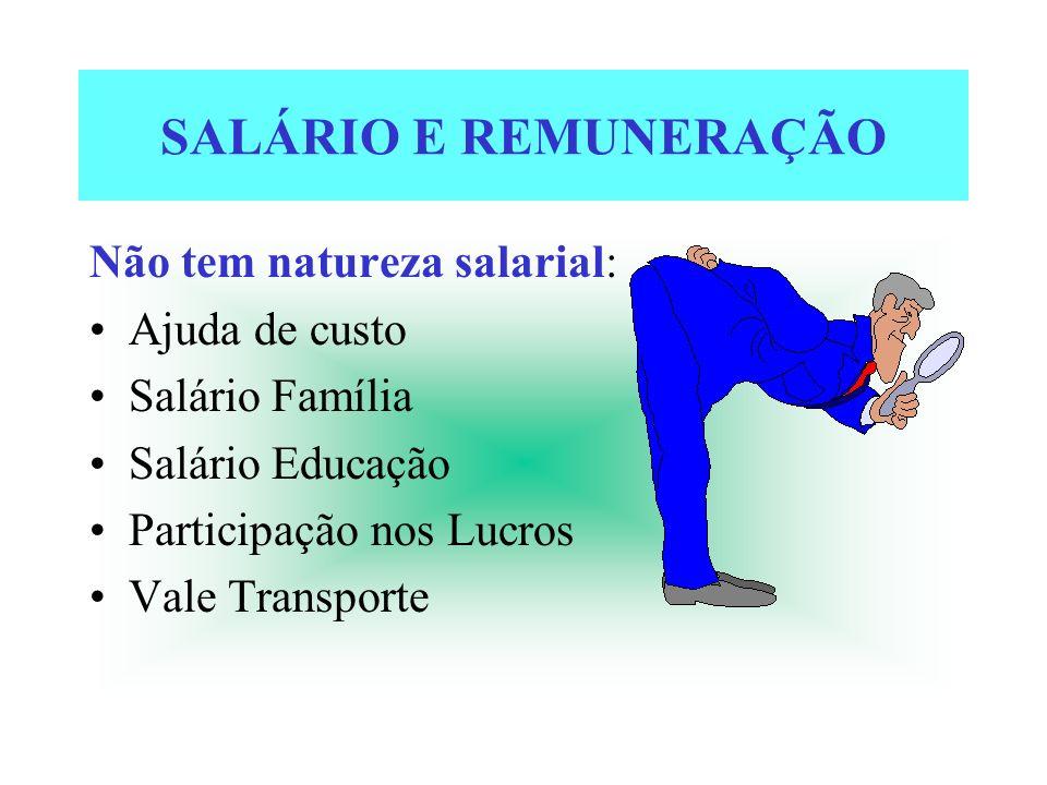 SALÁRIO E REMUNERAÇÃO Não tem natureza salarial: Ajuda de custo