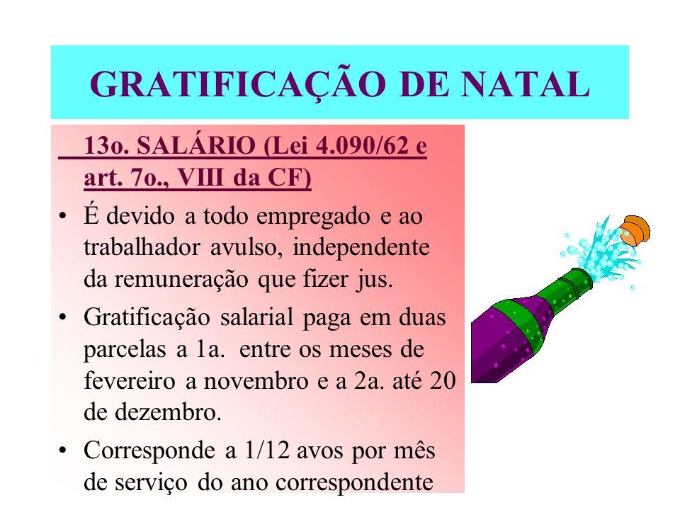 GRATIFICAÇÃO DE NATAL13o. SALÁRIO (Lei 4.090/62 e art. 7o., VIII da CF)