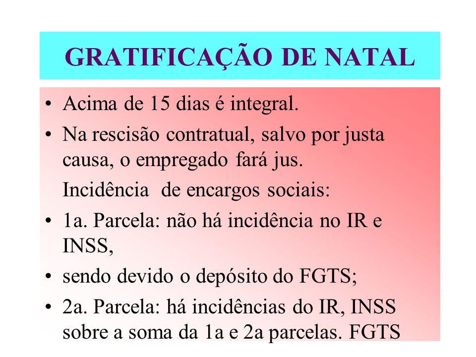 GRATIFICAÇÃO DE NATAL Acima de 15 dias é integral.