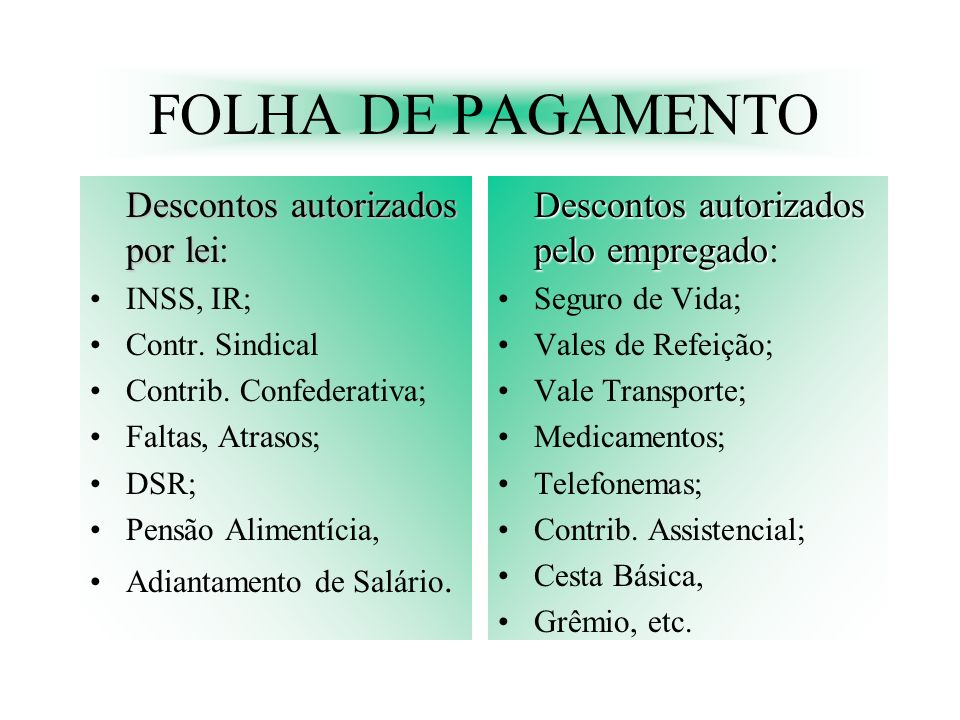 FOLHA DE PAGAMENTO Descontos autorizados pelo empregado: