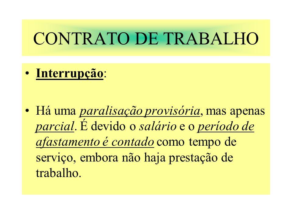 CONTRATO DE TRABALHO Interrupção: