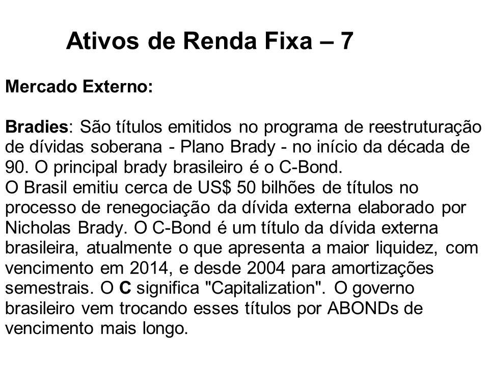 Ativos de Renda Fixa – 7 Mercado Externo: Bradies: São títulos emitidos no programa de reestruturação de dívidas soberana - Plano Brady - no início da década de 90.
