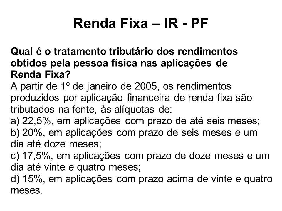Renda Fixa – IR - PF Qual é o tratamento tributário dos rendimentos obtidos pela pessoa física nas aplicações de Renda Fixa.