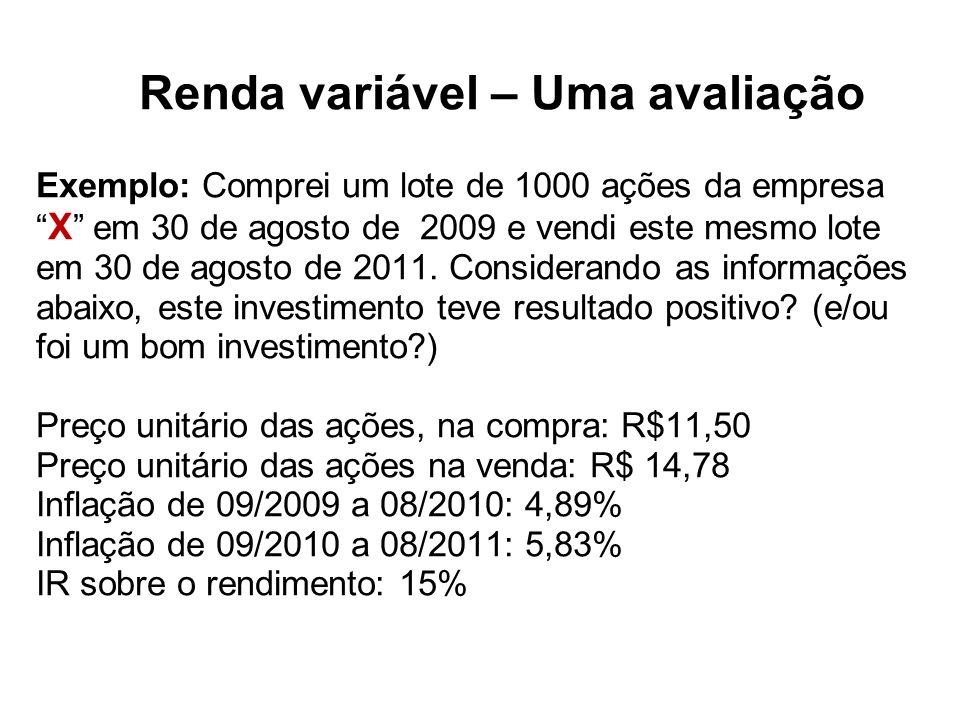 Renda variável – Uma avaliação Exemplo: Comprei um lote de 1000 ações da empresa X em 30 de agosto de 2009 e vendi este mesmo lote em 30 de agosto de 2011.