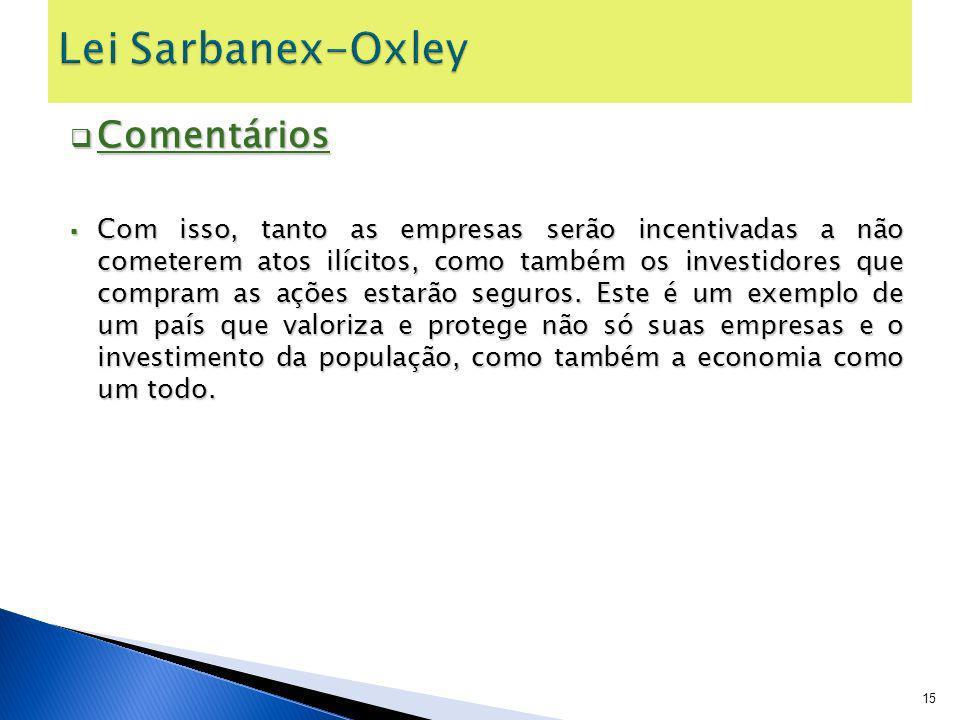 Lei Sarbanex-Oxley Comentários