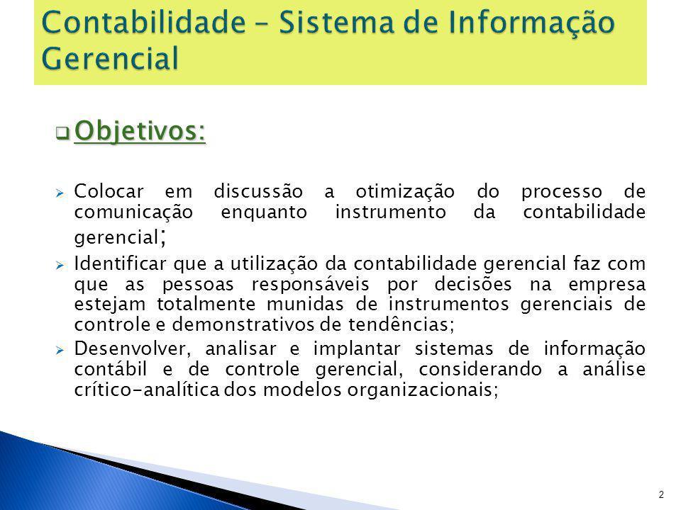 Contabilidade – Sistema de Informação Gerencial