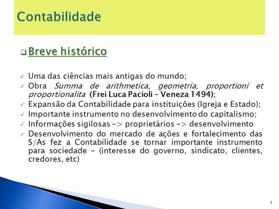 Contabilidade Breve histórico Uma das ciências mais antigas do mundo;