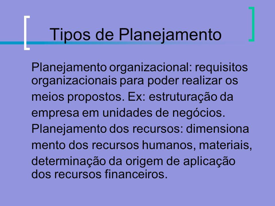 Tipos de Planejamento Planejamento organizacional: requisitos organizacionais para poder realizar os.
