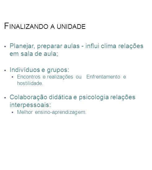 Finalizando a unidade Planejar, preparar aulas - influi clima relações em sala de aula; Indivíduos e grupos: