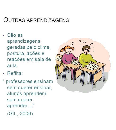 Outras aprendizagens São as aprendizagens geradas pelo clima, postura, ações e reações em sala de aula .