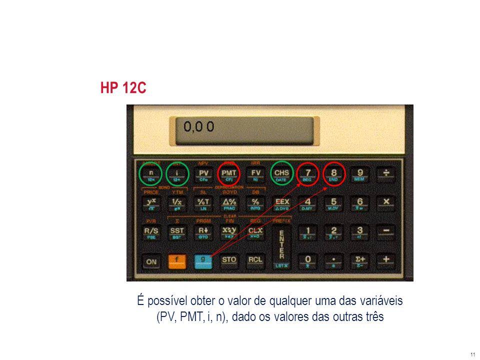 HP 12C É possível obter o valor de qualquer uma das variáveis
