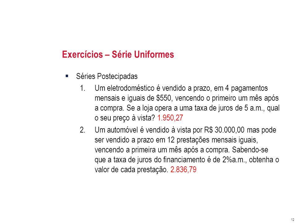 Exercícios – Série Uniformes