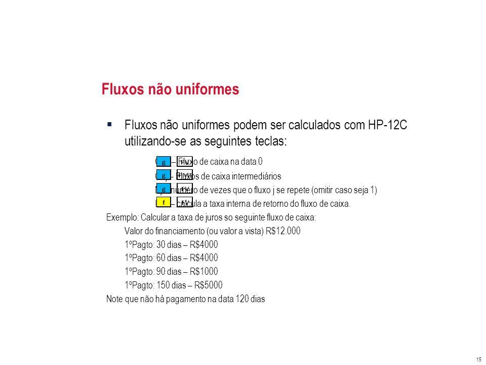 Fluxos não uniformes Fluxos não uniformes podem ser calculados com HP-12C utilizando-se as seguintes teclas: