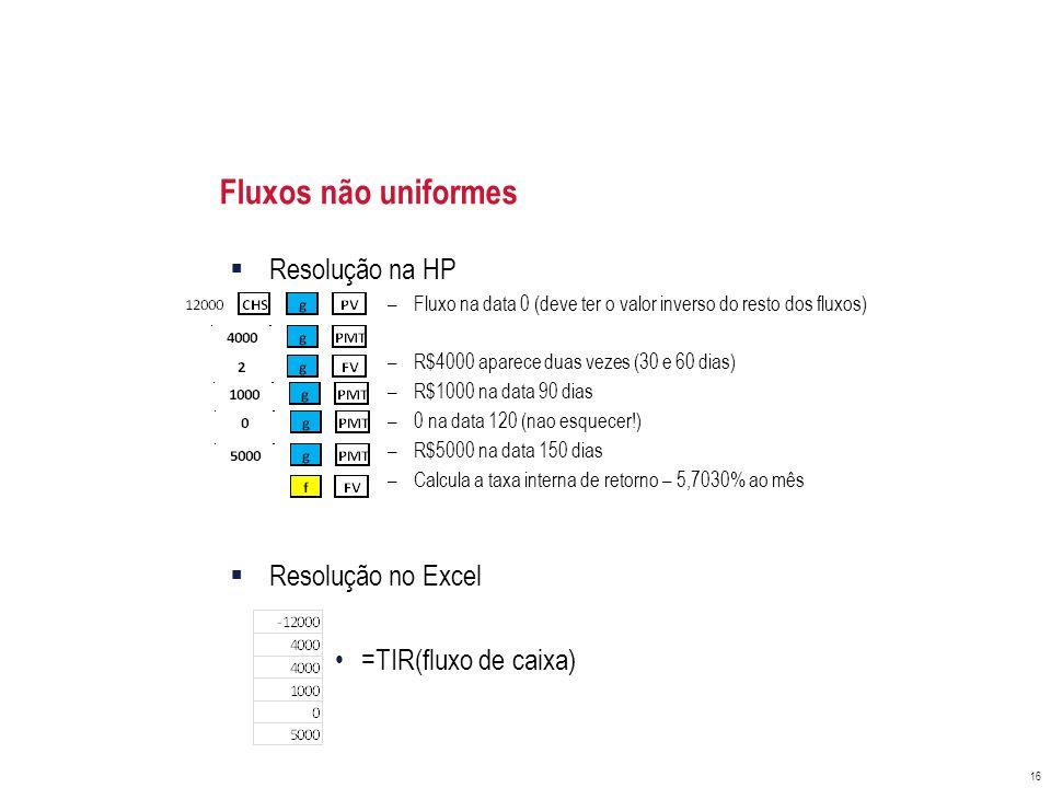 Fluxos não uniformes Resolução na HP Resolução no Excel
