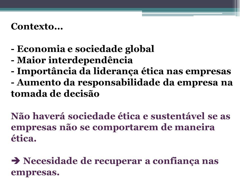 Contexto... - Economia e sociedade global. - Maior interdependência. - Importância da liderança ética nas empresas.