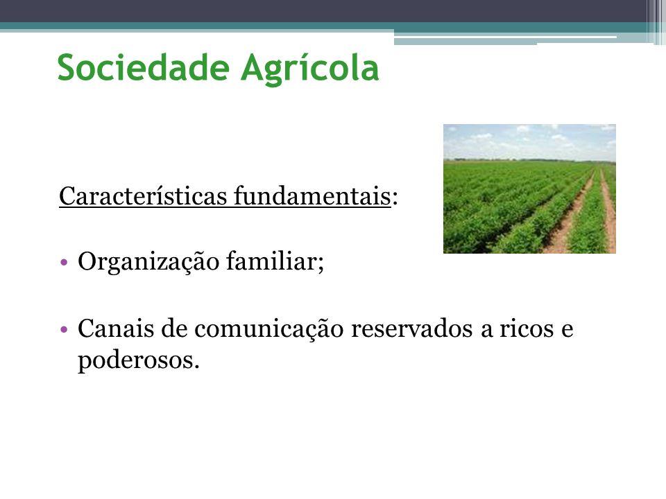 Sociedade Agrícola Características fundamentais: Organização familiar;
