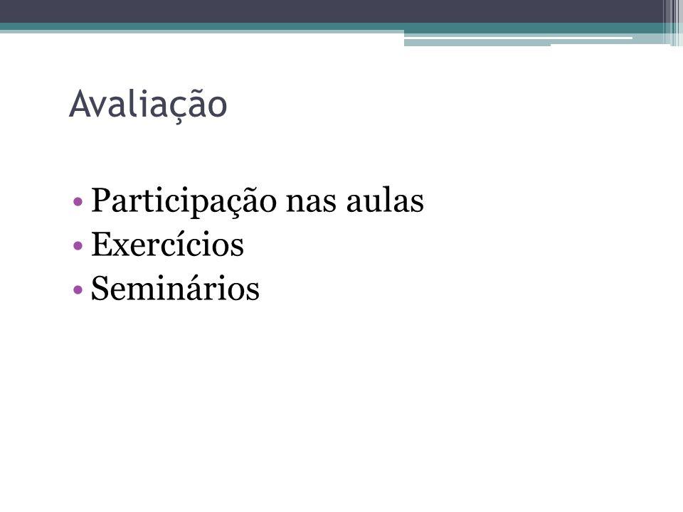 Avaliação Participação nas aulas Exercícios Seminários