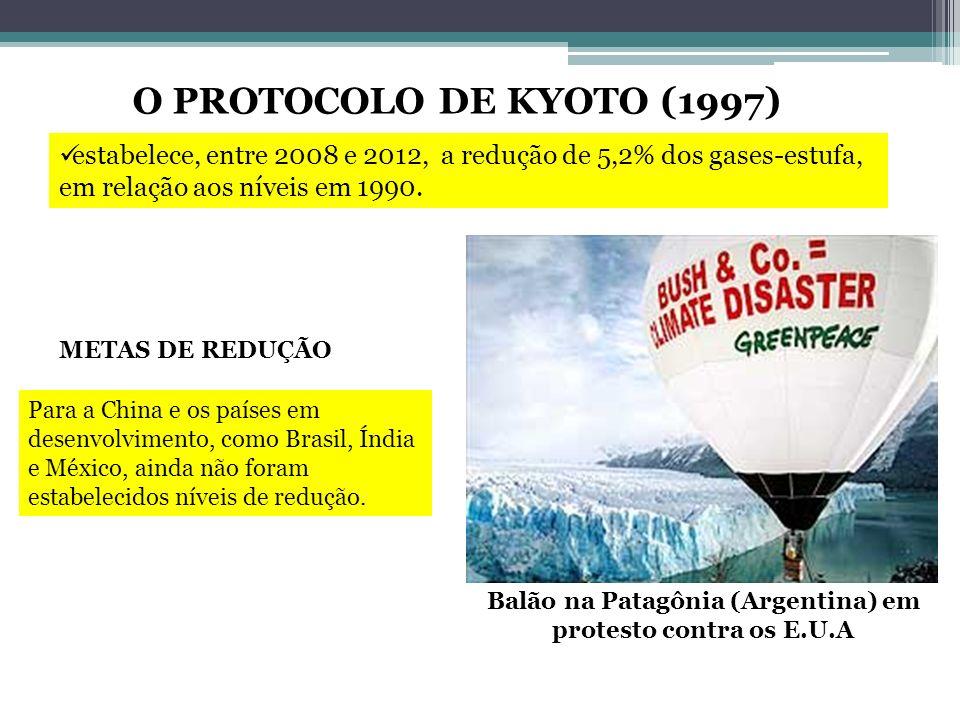 Balão na Patagônia (Argentina) em protesto contra os E.U.A